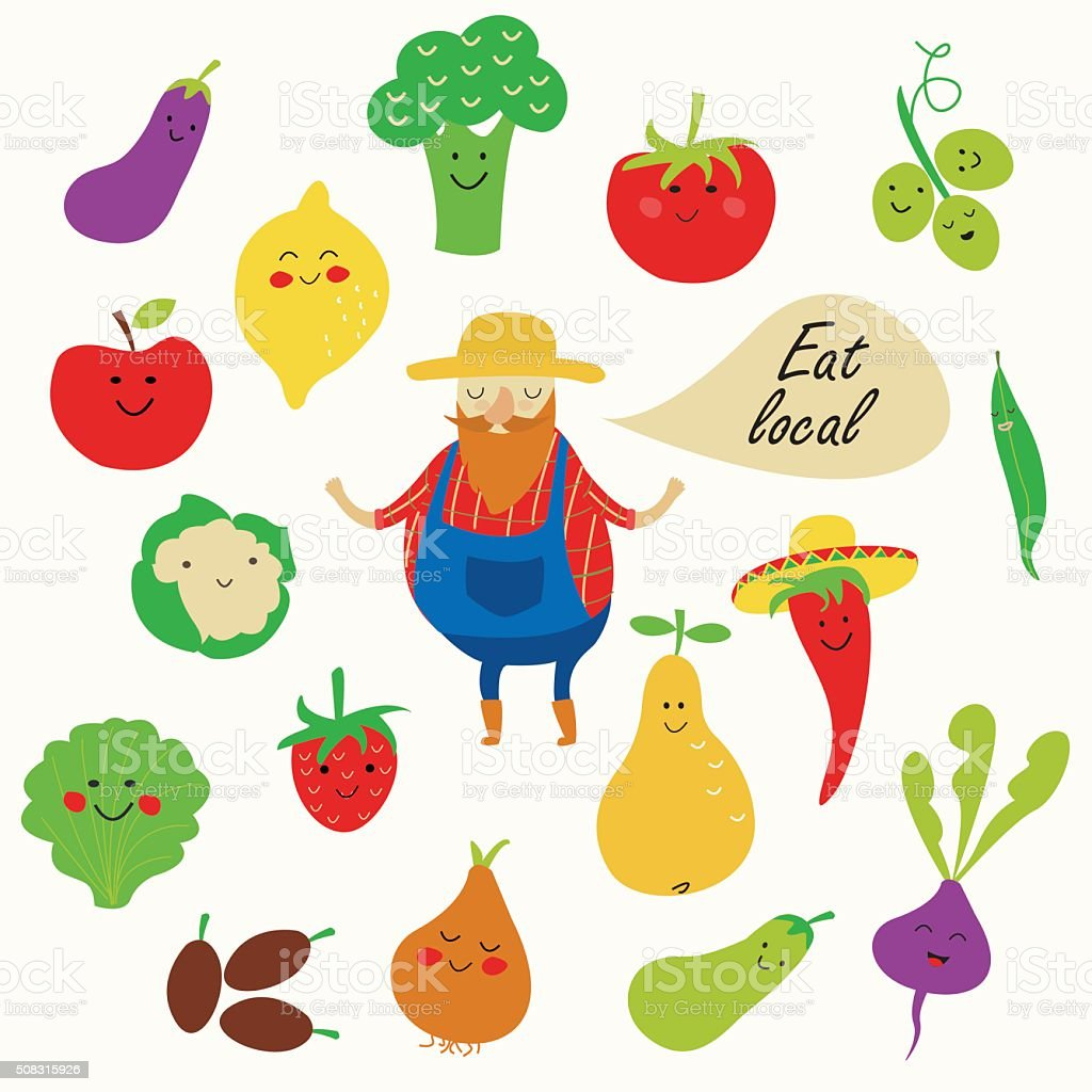 eatlocalfarmerbright vector art illustration