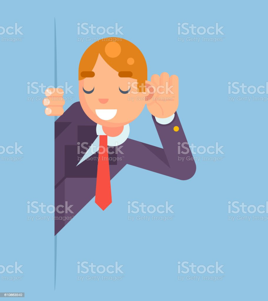 Eavesdropping Listen Overhear Spy Out Corner Cartoon Businessman Character Flat vector art illustration