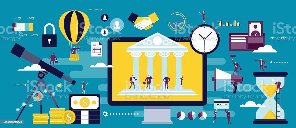 e-banking, online business communication vector art illustration