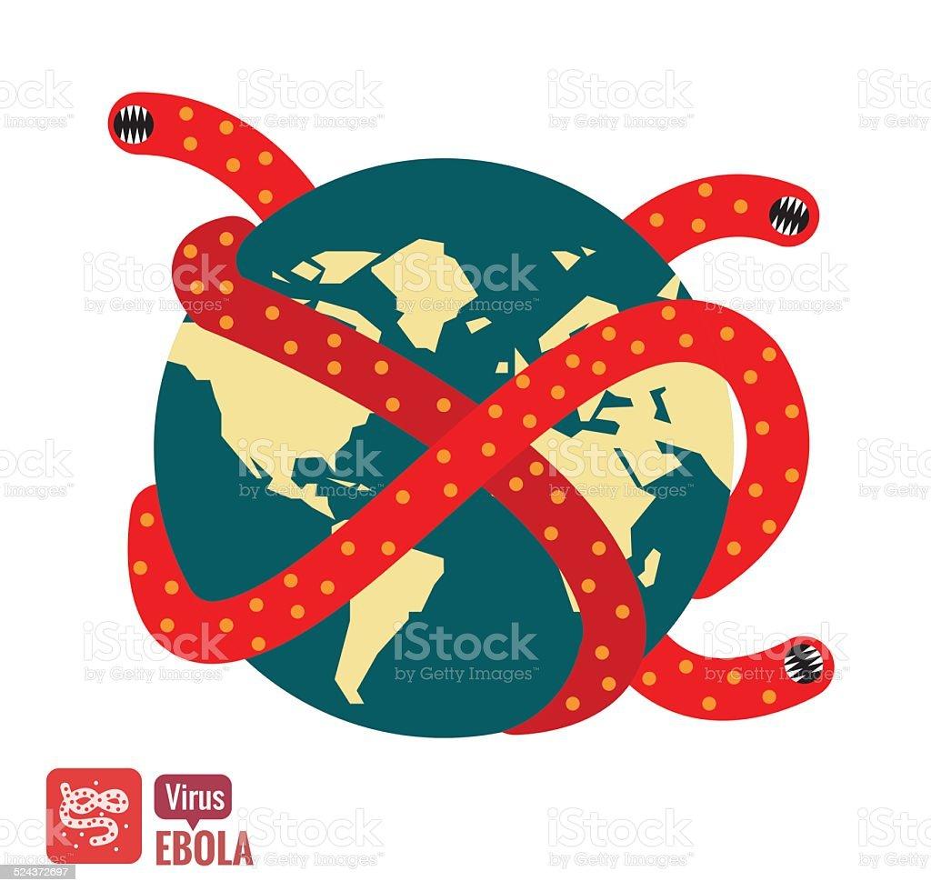 Ebola virus attacks the world. vector art illustration