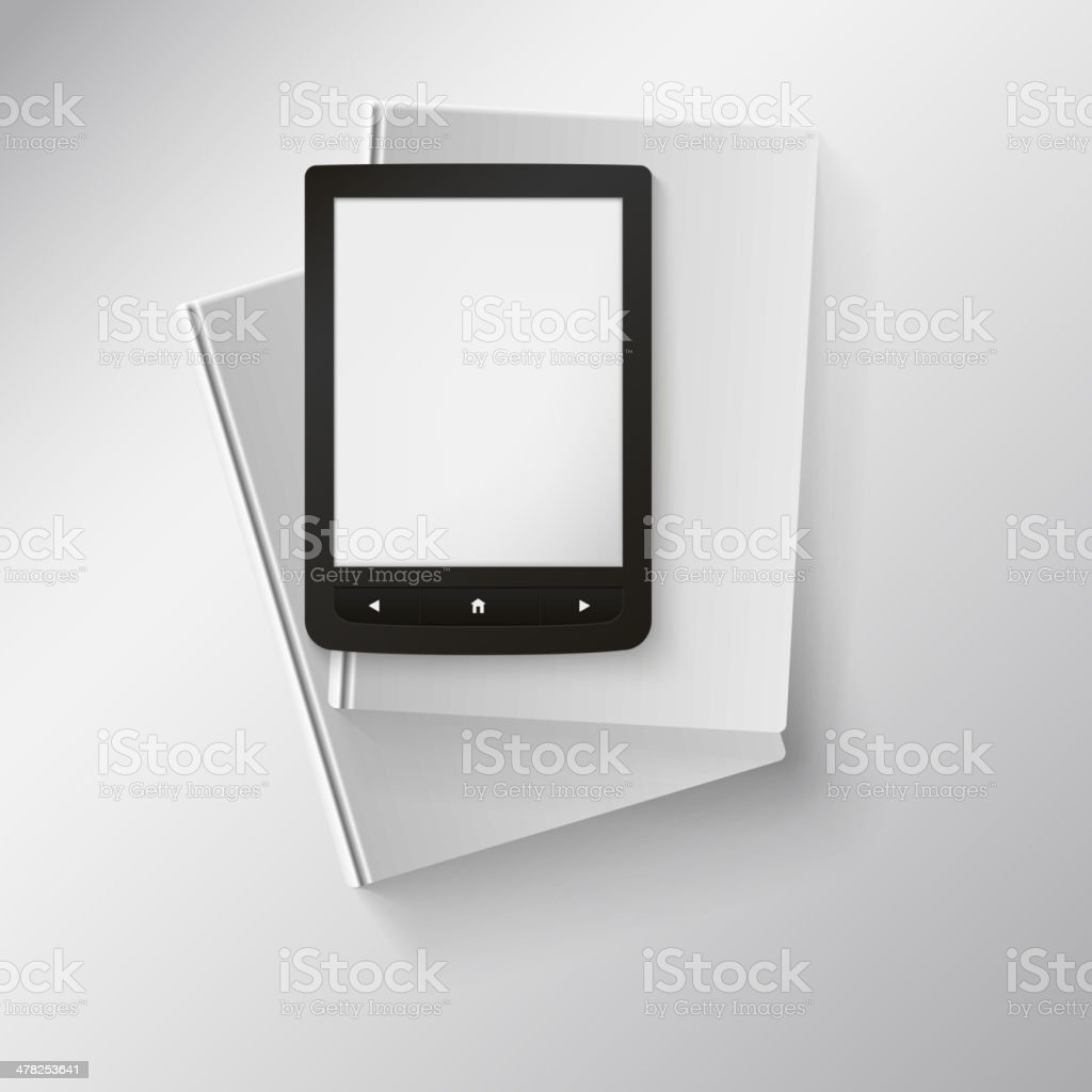 E-book lying on top of books. royalty-free stock vector art