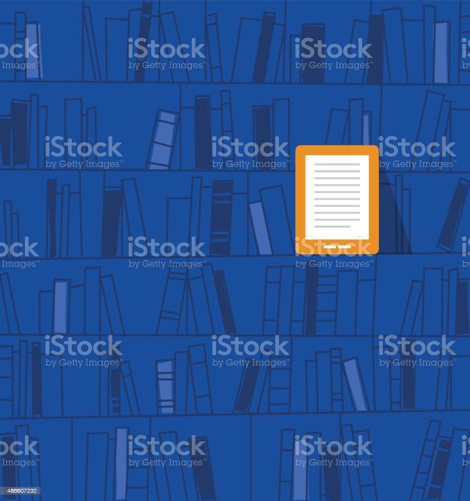 Ebook on the shelf. Vector illustration vector art illustration