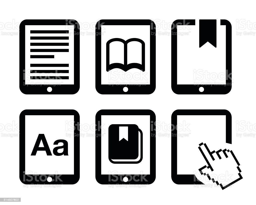 E-book reader, e-reader vector icons set vector art illustration