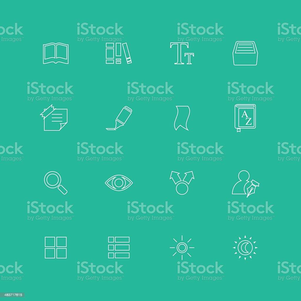 E-book Reading Icons vector art illustration