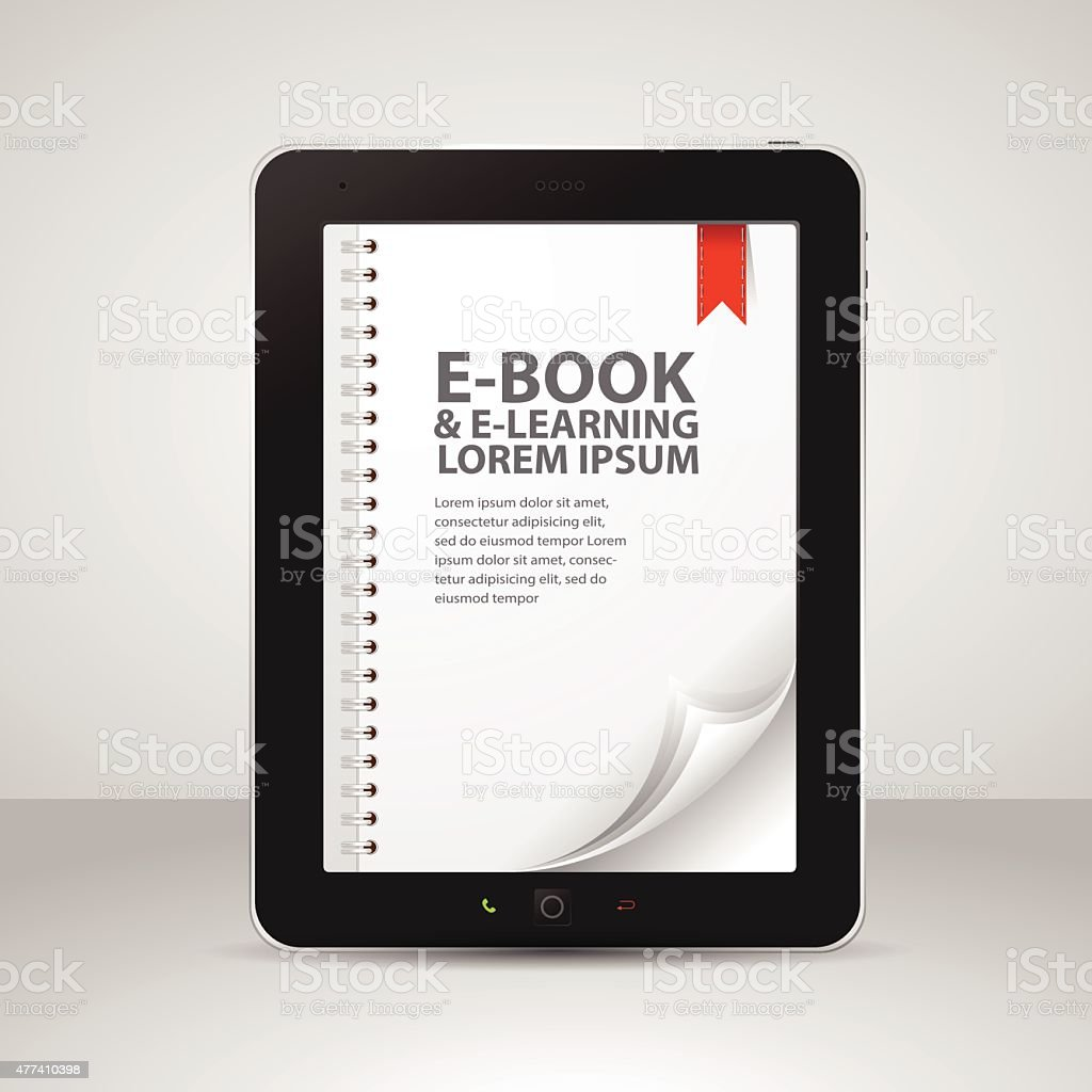 E-books and Tablet Computer with Pages and Books vector art illustration