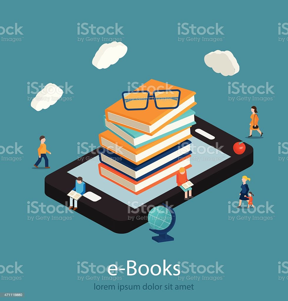 E-books isometric concept. Online mobile library in smartphone. vector art illustration