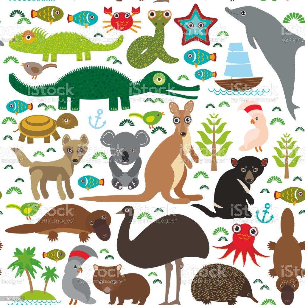 Echidna Platypus  Wombat snake turtle crocodile kangaroo dingo Seamless pattern vector art illustration