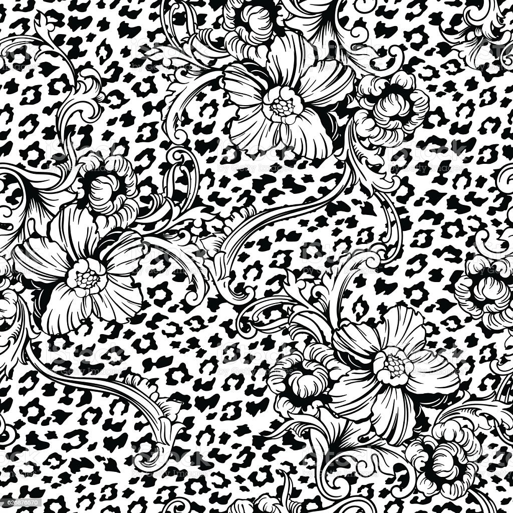 Eclectic fabric seamless pattern. Animal background with baroque ornament. vector art illustration