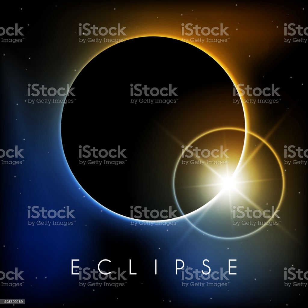 Eclipse with lens flare vector art illustration
