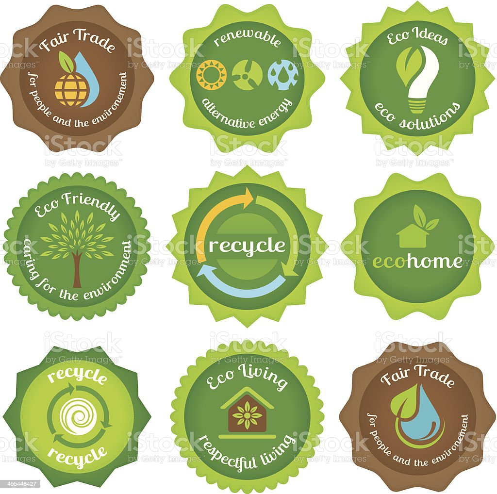 Eco and Fair trade labels vector art illustration