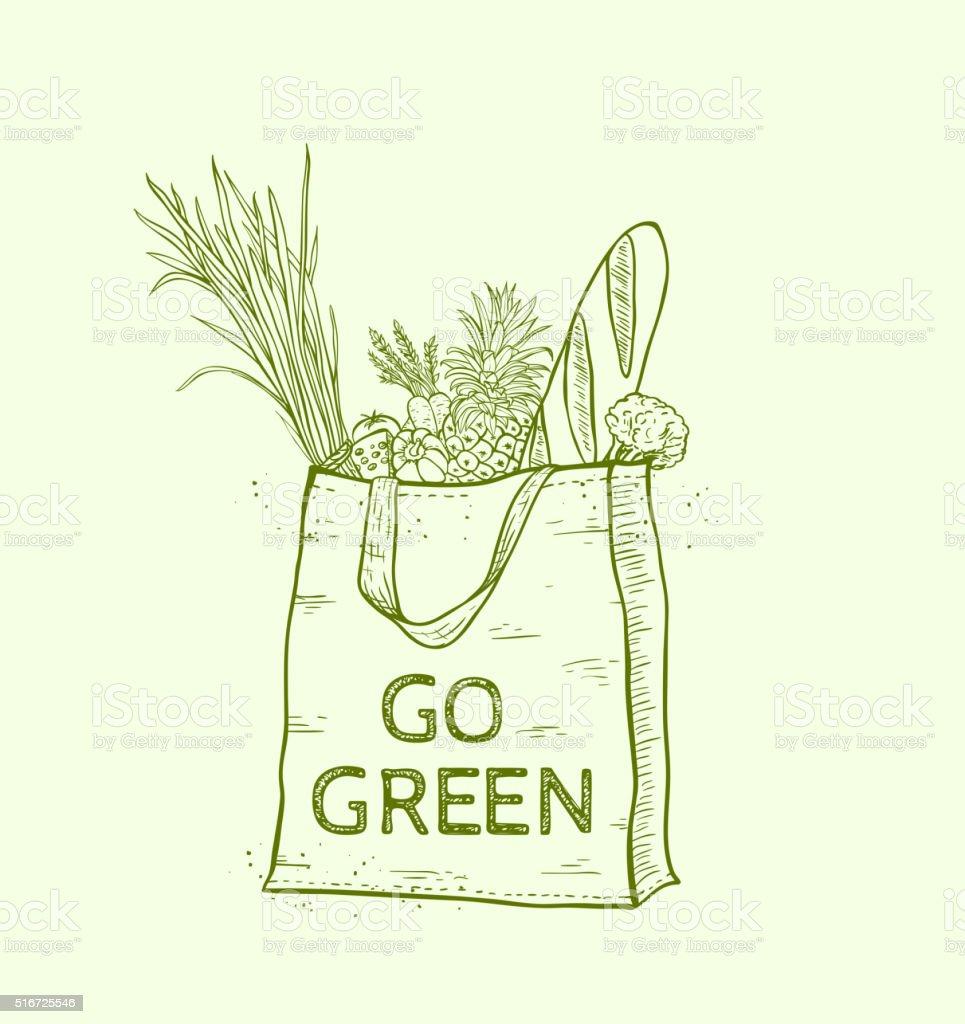 Eco bag with fresh food vector art illustration