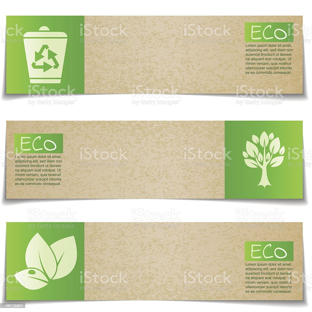 Eco banners with green signs on white background vector art illustration