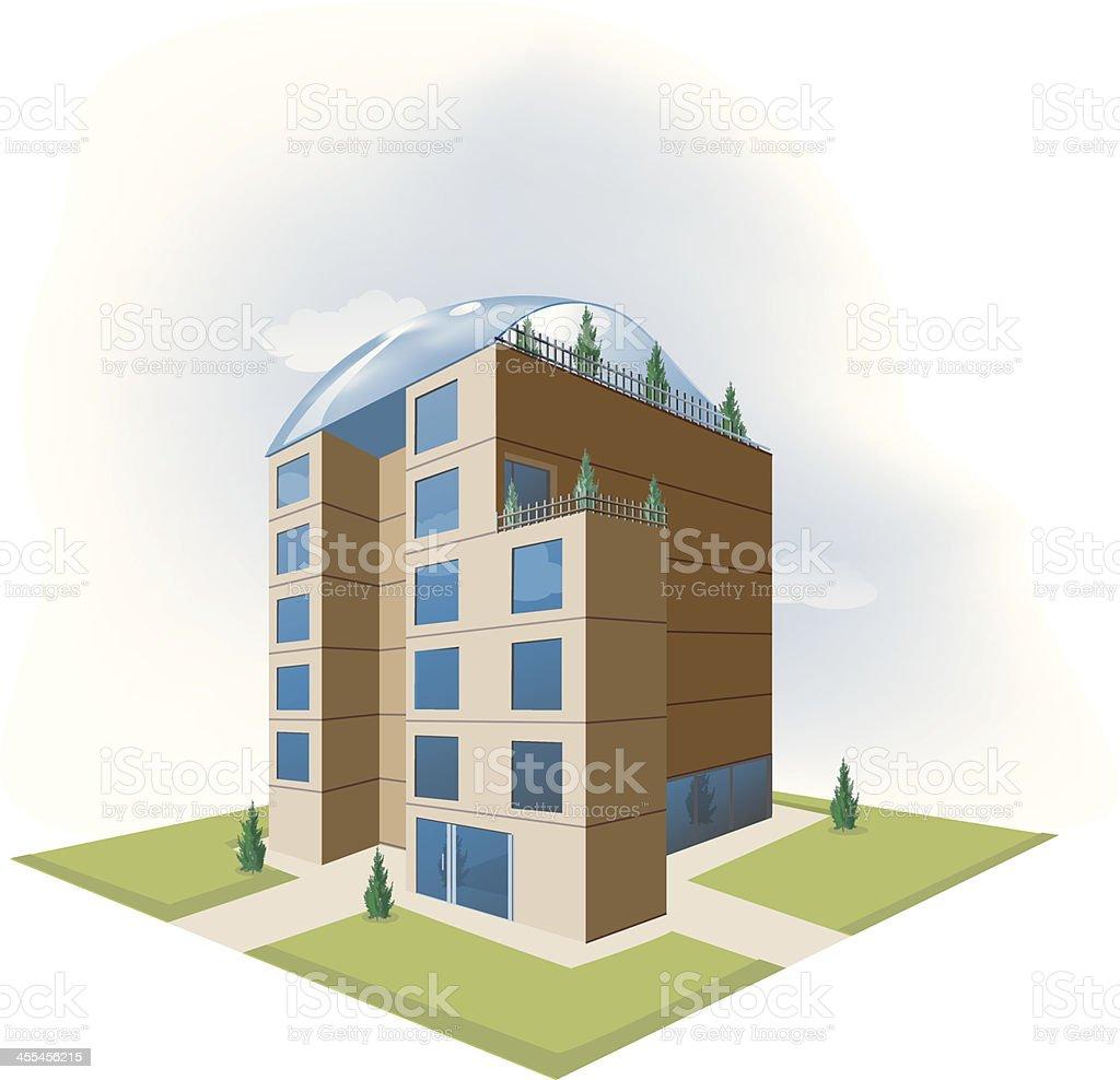 Eco building vector art illustration