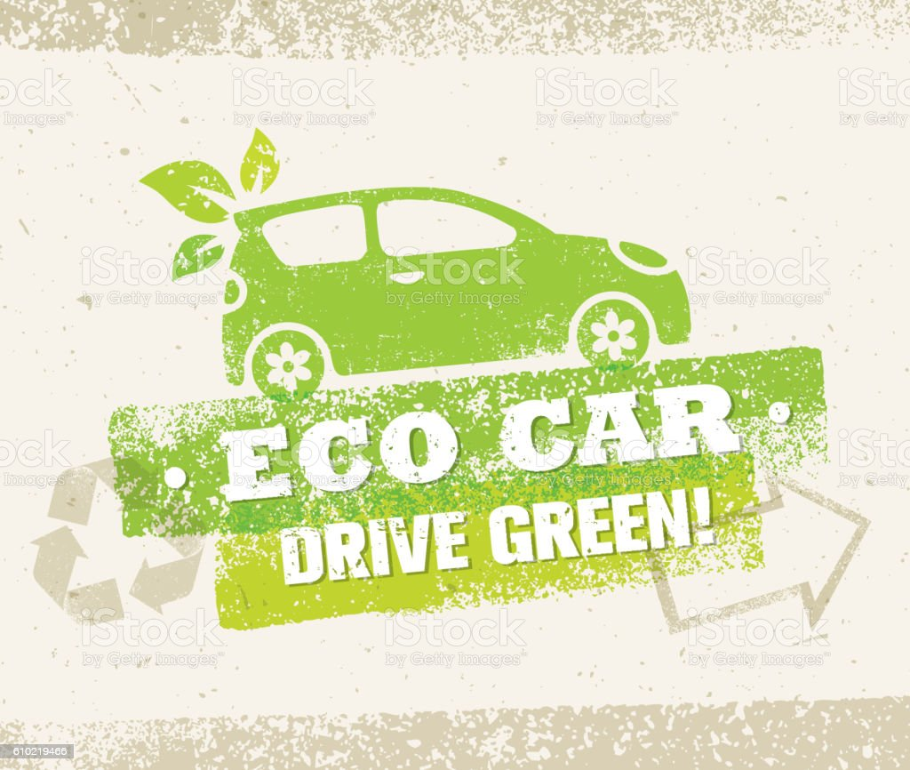 Eco Car Creative Vector Nature Friendly Vehicle Illustration Concept vector art illustration