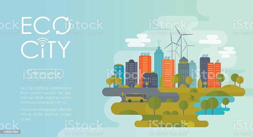 Eco City Banner vector art illustration