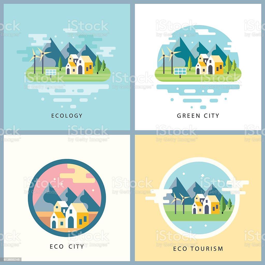 Eco city set. Alternative energy concept vector art illustration