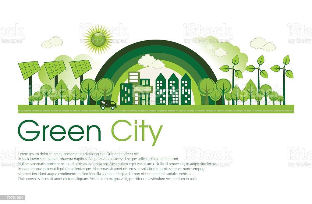 Eco City vector art illustration