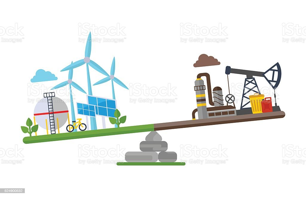 eco clean planet more than oil plant vector art illustration