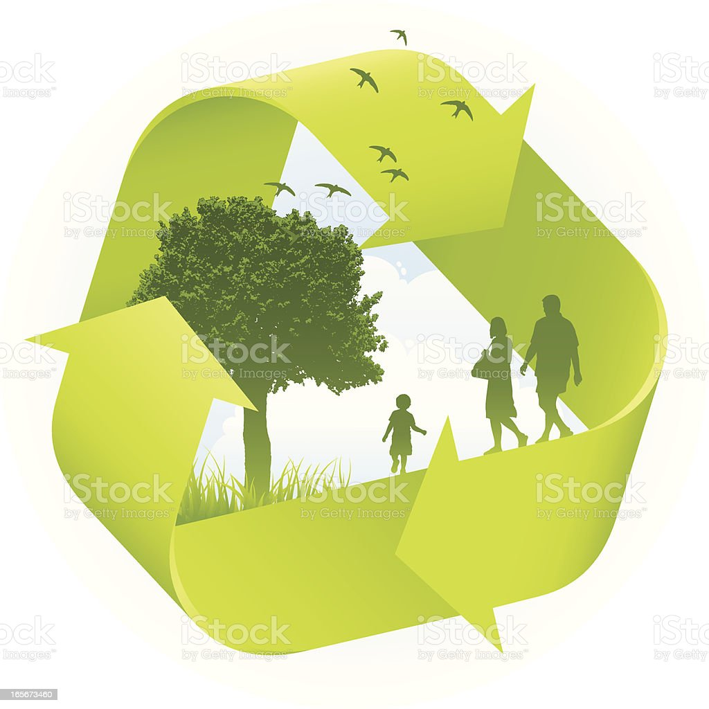 Eco conscious family royalty-free stock vector art