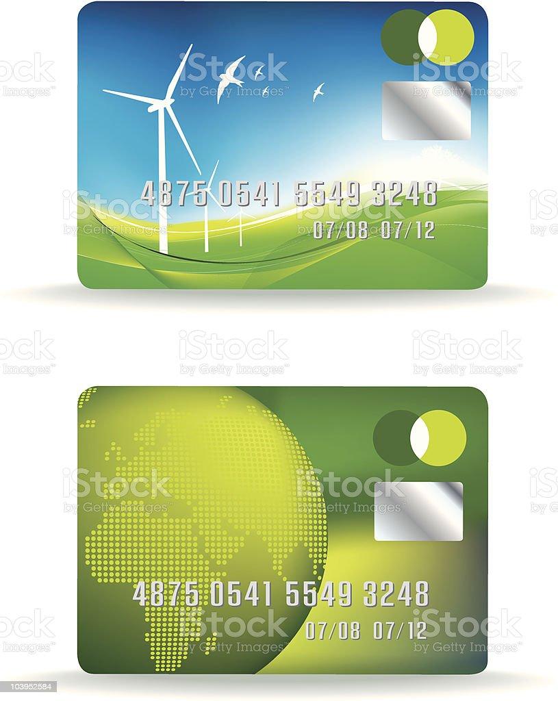 set Öko-Kreditkarte Lizenzfreies vektor illustration