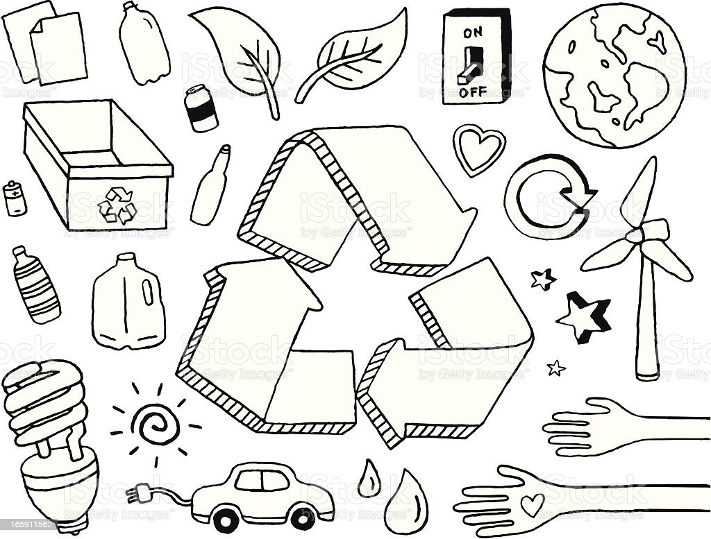 Eco Doodles vector art illustration