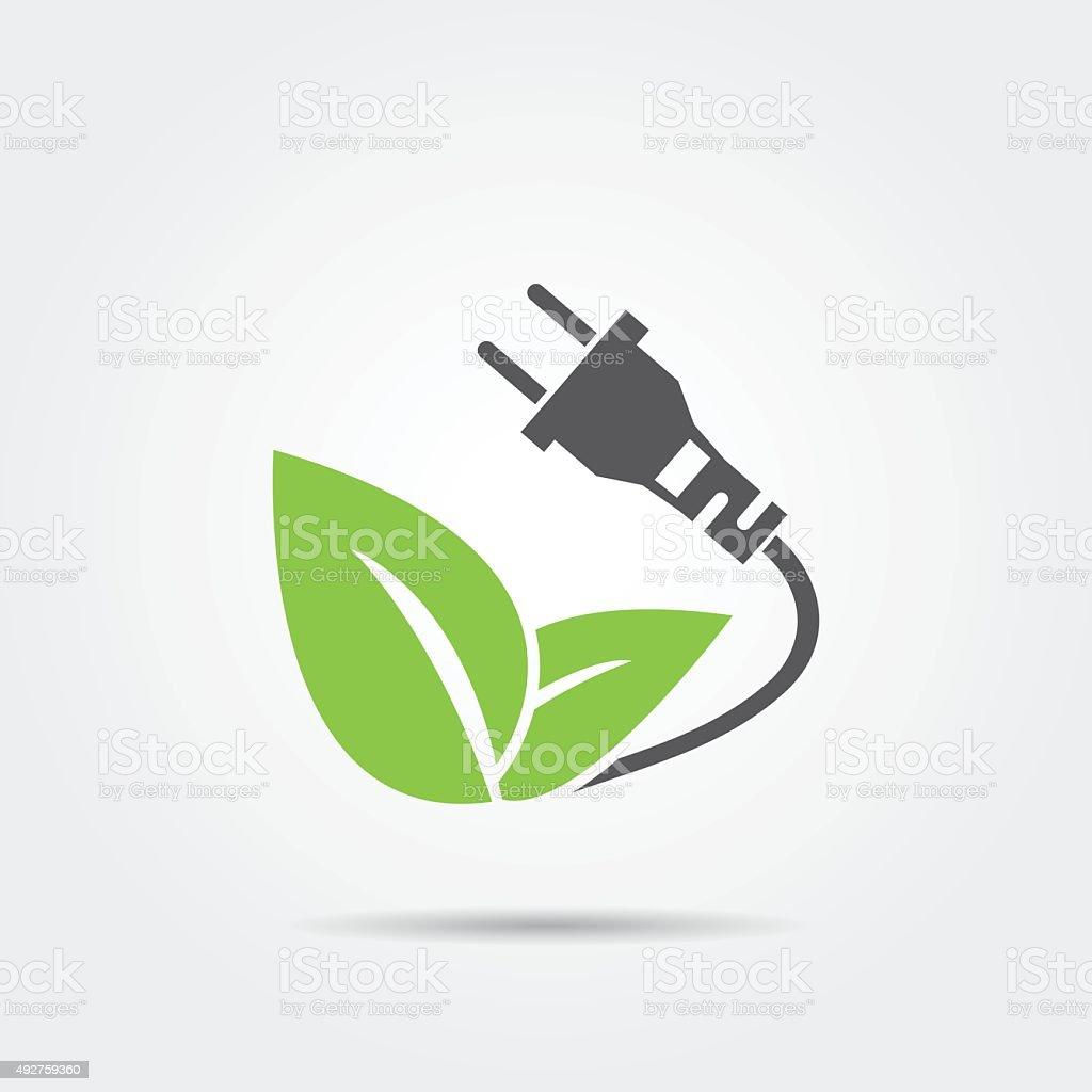Eco electric plug icon vector art illustration