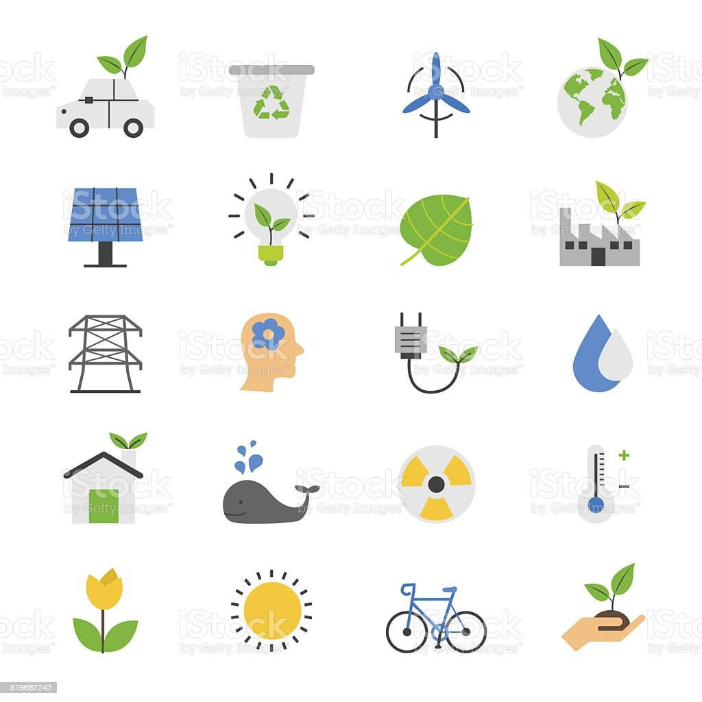 Eco Energy and Environment Flat Color Icons vector art illustration