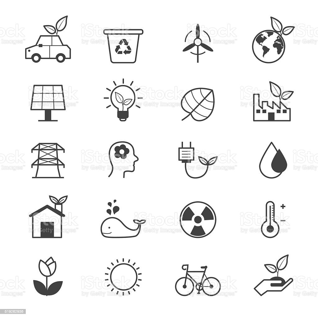 Eco Energy and Environment Icons Line vector art illustration
