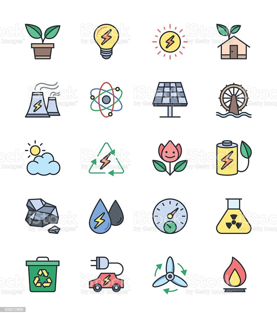 Eco Energy and Power icons, Color set - Vector Illustration vector art illustration