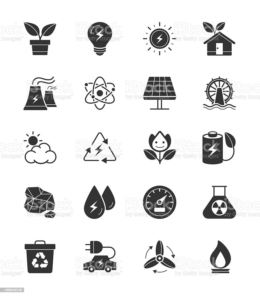 Eco Energy and Power icons on White Background vector art illustration