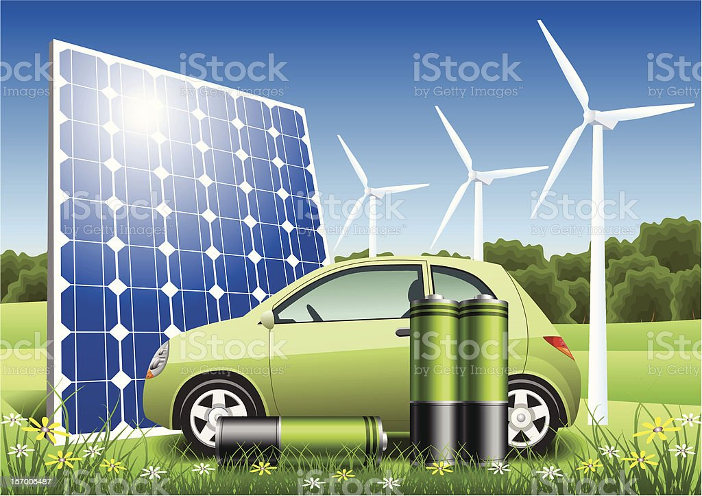 Eco Energy Hybrid Car royalty-free stock vector art
