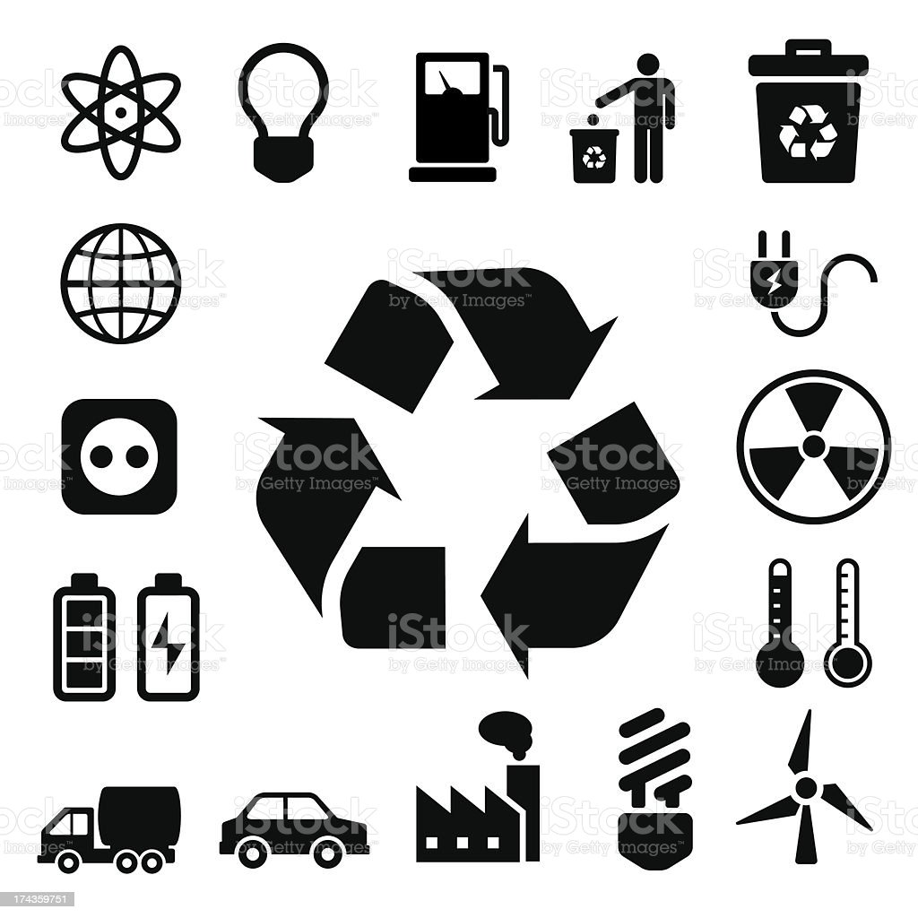 Eco energy icons set royalty-free stock vector art