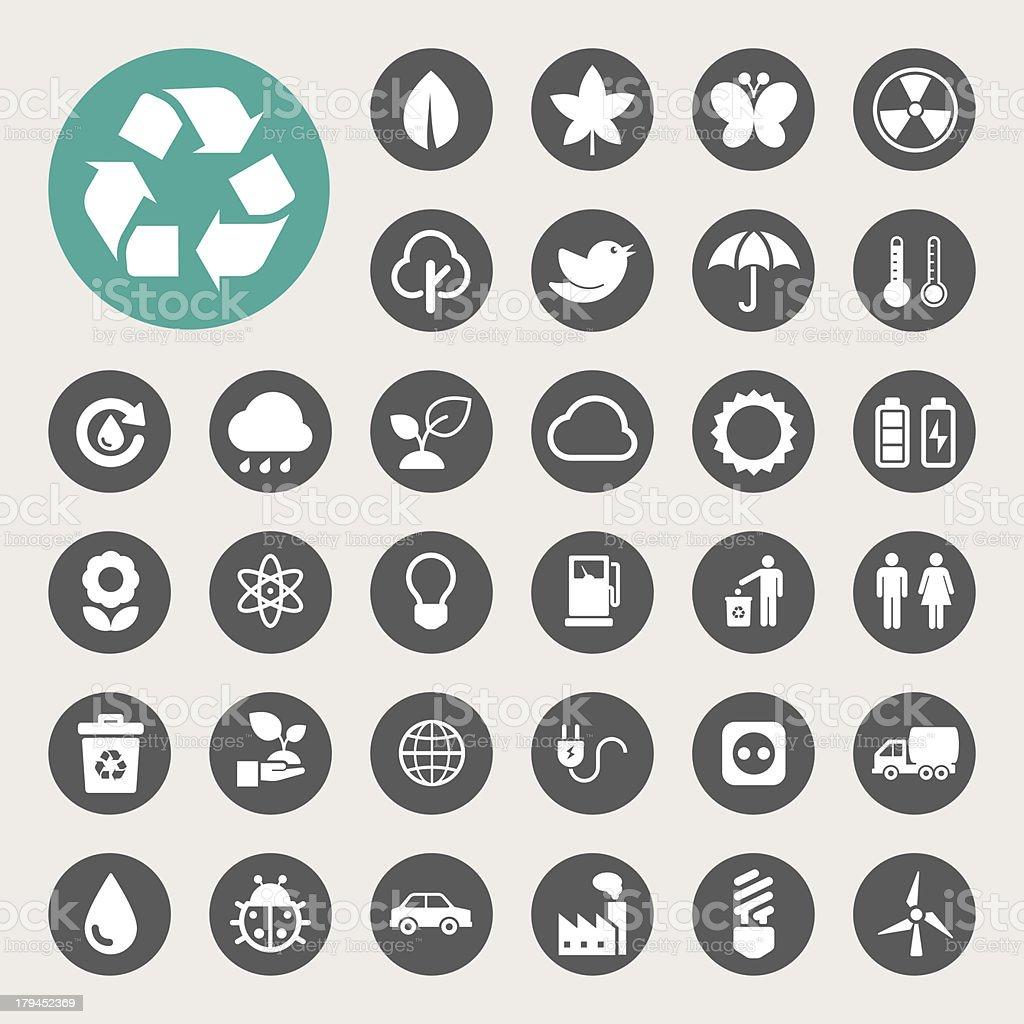 Eco energy icons set. vector art illustration