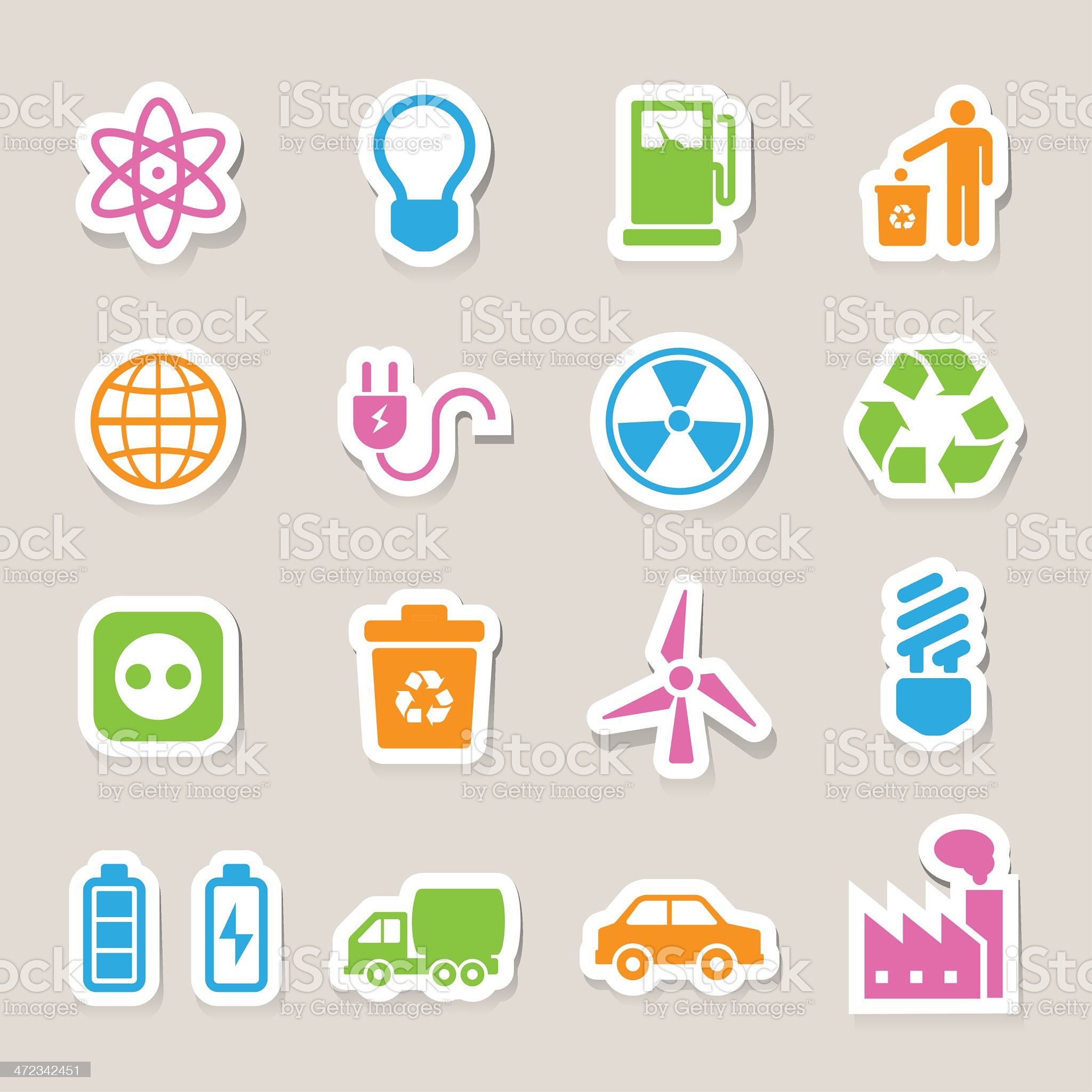 Eco energy icons set royalty-free stock vector art