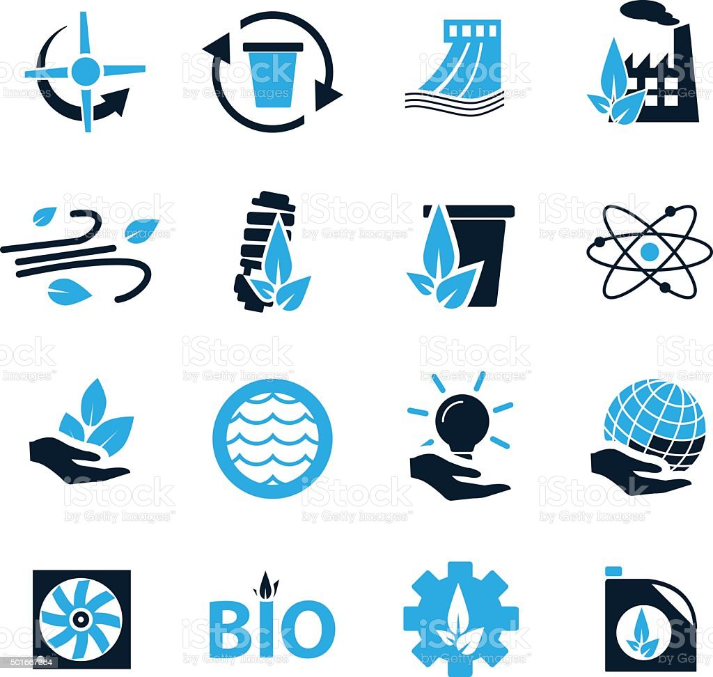 Eco energy icons set vector art illustration