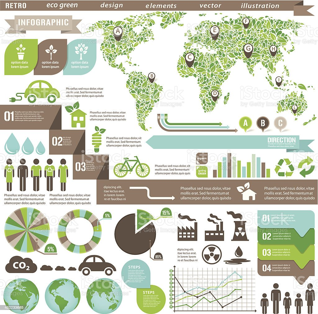Eco Environmental Infographic Green vector art illustration