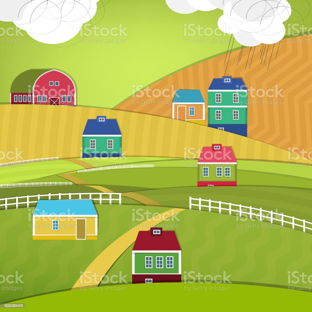 Eco farm landscape vector art illustration
