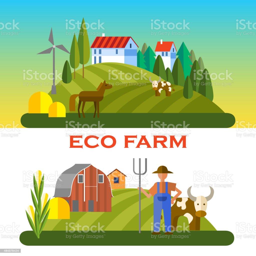 eco farm vector art illustration