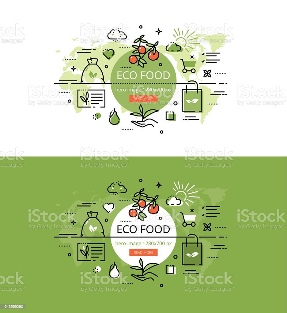 Eco Food. Flat line color hero images design concept vector art illustration