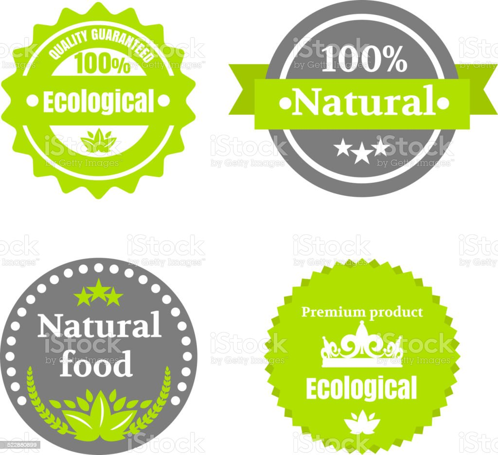 Eco food icons set with round labels vector art illustration