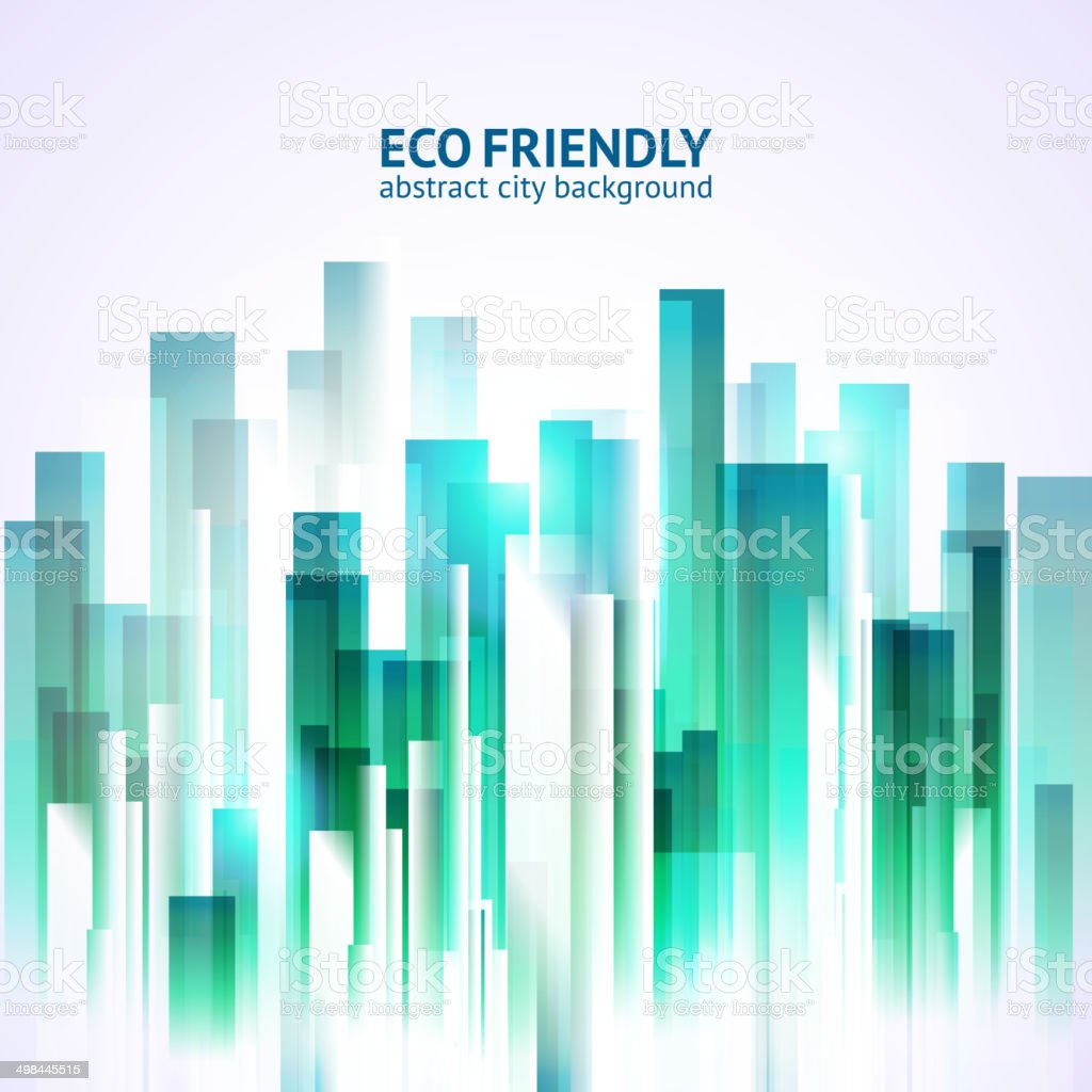 Eco friendly abstract city background vector art illustration