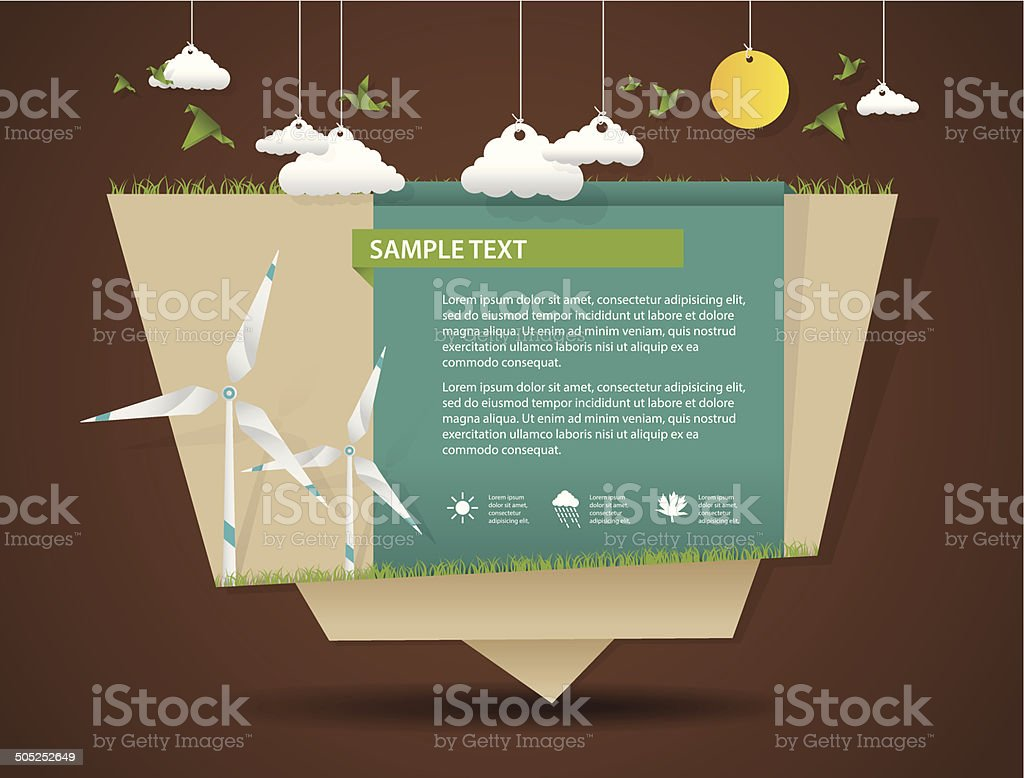 Eco friendly and green energy origami template vector art illustration
