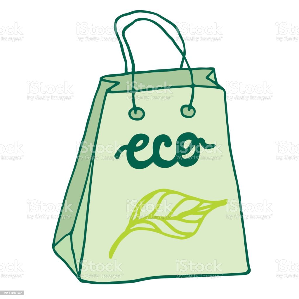 Eco Friendly Bag With Handles Reusable Shopping Bag stock vector ...