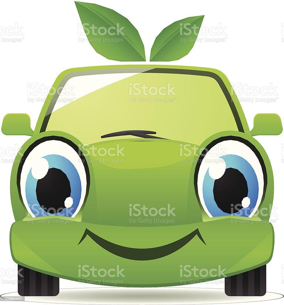 Eco friendly car. Vector cartoon illustration vector art illustration