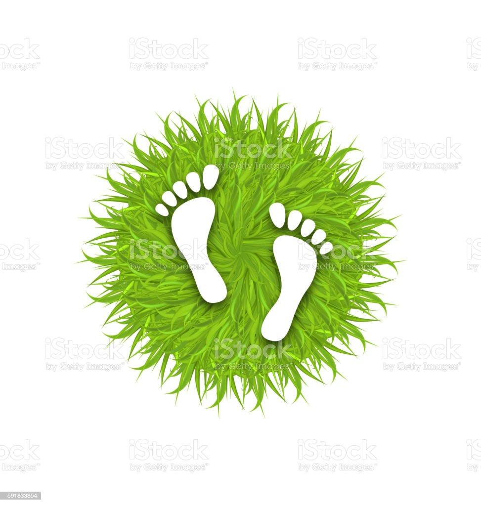 Eco Friendly Footprints on Green Grass vector art illustration