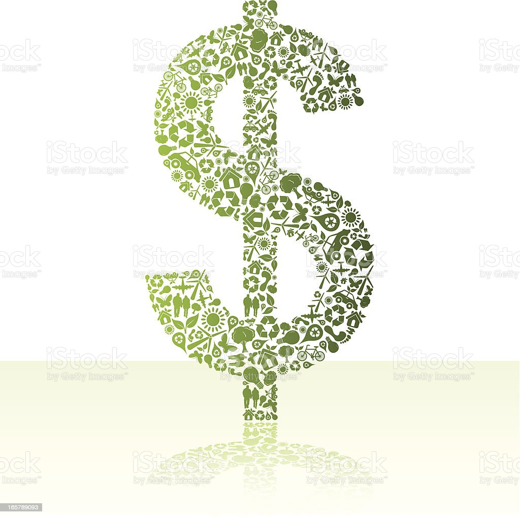 Eco friendly green dollar royalty-free stock vector art
