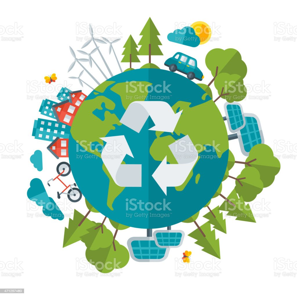 Eco Friendly, green energy concept, vector illustration vector art illustration