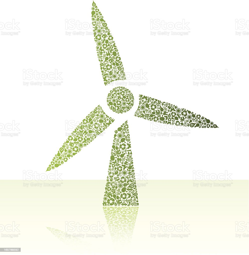 Eco friendly green wind turbine royalty-free stock vector art