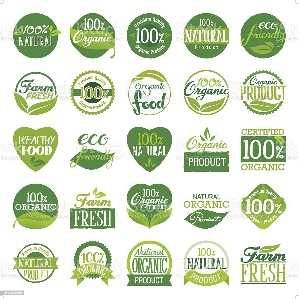 eco friendly & organic icon set vector art illustration