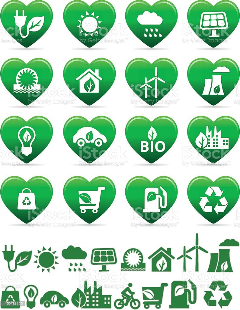 eco green and bio energy icons in heart shape vector art illustration